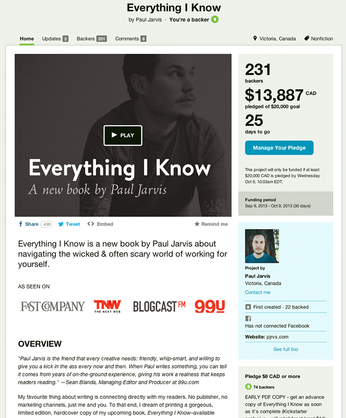 Paul Jarvis: Everything I Know