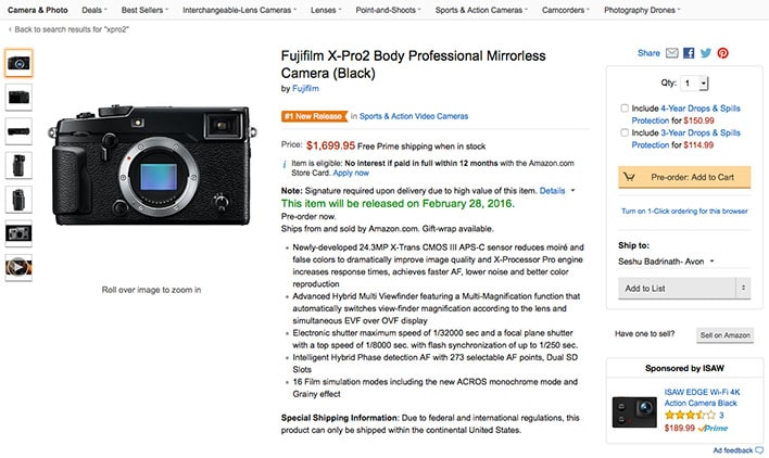 Buy Fujifilm X-Pro2 at Amazon