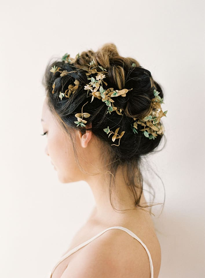 Jen Huang: Fine Art Wedding Photography, Bride Wearing Flowers In Her Hair