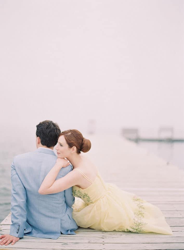 Jen Huang: Fine Art Wedding Photography, Bride and Groom On Pier Closeup