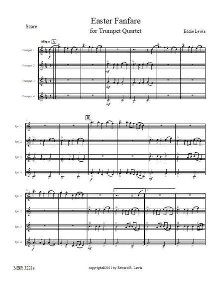 Easter Fanfare trumpet quartet sheet music pdf sample score