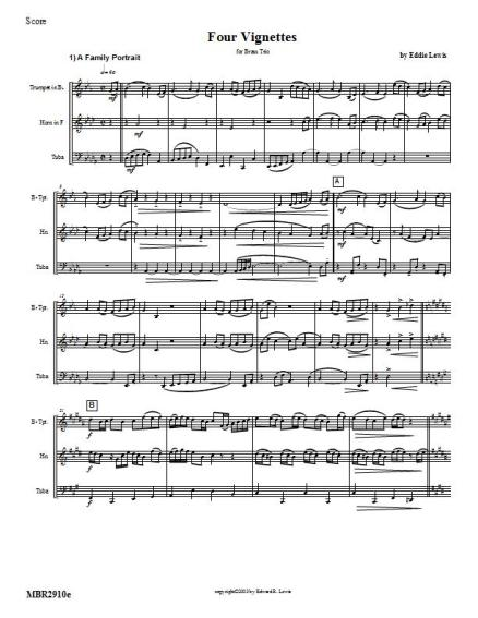 Four Vignettes brass trio sheet music pdf sample score