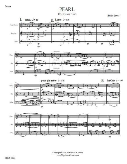 Pearl Brass trio sheet music sample score