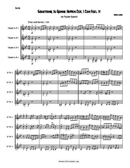 Something Is Gonna Happen Trumpet Quartet Sheet Music PDF Sample Part