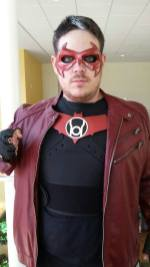 Chris Ellinger with Tiger Stone FX Nightwing mask as Red Lantern Jason Todd