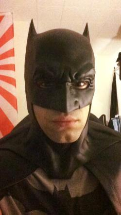 Nicholas Agosta‎ with Tiger Stone FX Batman V Superman Dawn Of Justice cowl