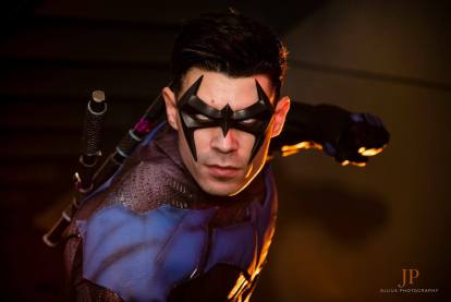 dynamite webber's nightwing cosplay with tiger stone fx arkham city nightwing mask, gauntlets and chest emblem - photo by julius photography