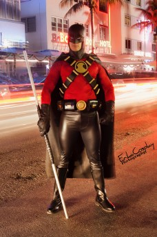 Tiger Stone FX Red Robin cowl worn by Havok Cosplay -- photo by @erikacosplay