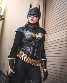 Arkham Knight Batgirl cowl and chest emblem worn by NerdAlert - made by Tiger Stone FX