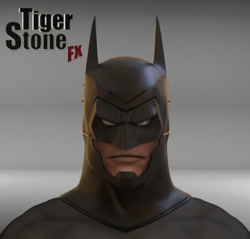 Batman Ninja cowl - finished sculpture - by Tiger Stone FX