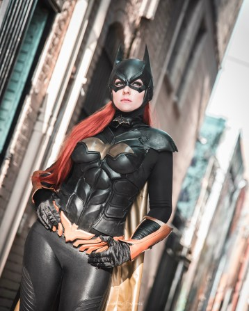 Batman Arkham Knight Batgirl cowl mask by Tiger Stone FX worn by WhoaNerdAlert (photo by Kryptic Frames) - (customer photos)