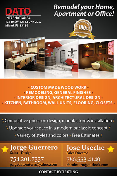 Flyer Design For Interior Design Amp Remodeling Dato