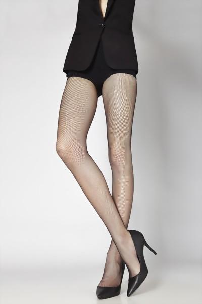 Cecilia de Rafael - Comfortable seamless fishnet tights Micro Red, black, size M/L