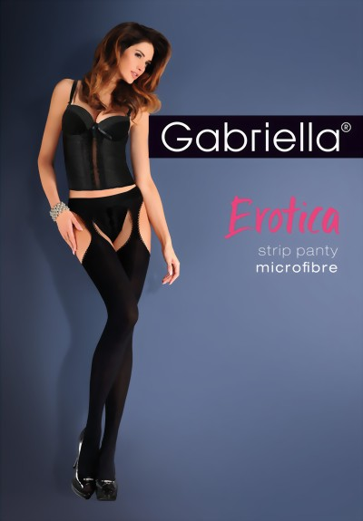 Gabriella - Sensuous opaque suspender tights Microfibre, black, size M/L