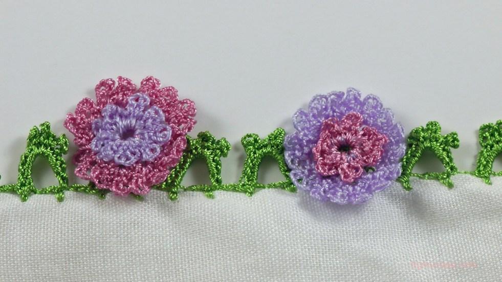 ortanca çiçeği motifli yazma kenarı