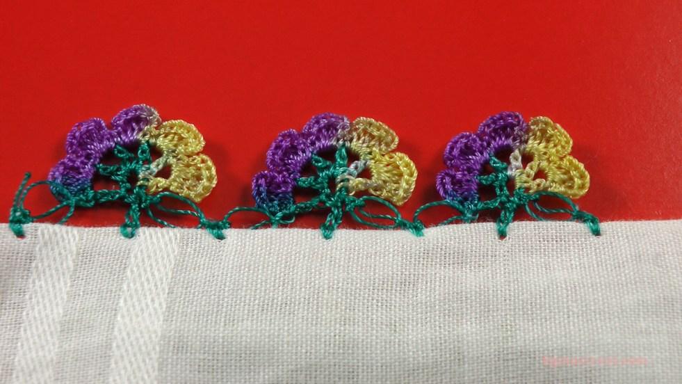 kolay sıralı çiçek motifli yazma kenarı