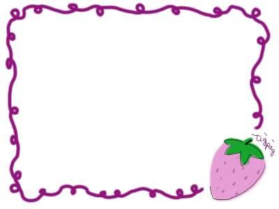 フリー素材:フレーム素材。400pix<br />  レトロでガーリーな苺(いちご)のイラスト。