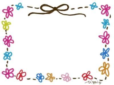 フリー素材:フレーム素材。400pix<br />  ガーリーなリボンと小花のイラスト。
