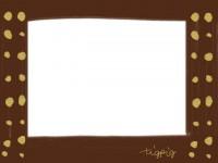 フリー素材:フレーム素材(640pix)<br />  ガーリーな茶色×水玉のイラスト素材。