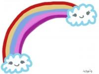 フリー素材:フレーム素材<br> 虹のラブリーイラスト素材(640pix)