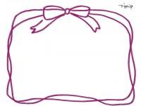 フリー素材:フレーム素材(640pix)<br>  ガーリーなピンクのリボンのイラスト素材。