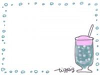 フリー素材:フレーム;ガーリーなクリームソーダのイラスト。夏の無料素材。
