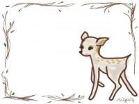 フリー素材:フレーム;メルヘンな森の子鹿(バンビ)のイラスト素材