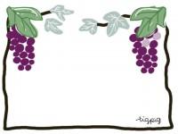 フリー素材:フレーム;ガーリーで大人可愛い葡萄(ブドウ)のイラスト素材