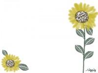 フリー素材:フレーム;ガーリーで大人可愛い向日葵(ひまわり)のイラスト素材