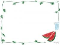 フリー素材:フレーム;大人可愛いスイカのイラスト。夏の無料素材