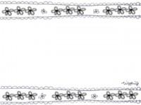 フリー素材:フレーム;花柄のリボン(モノクロ)。ガーリーで大人可愛いイラスト素材 << tigpig >>