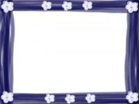 フリー素材:フレーム;ガーリーで大人可愛い小花のアップリケ風のイラスト素材