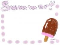 フリー素材:フレーム;アイス(イチゴ&チョコ)。ガーリーで大人可愛いイラスト素材 << tigpig >>