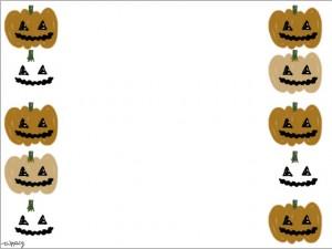 フリー素材:フレーム素材;ハロウィンのかぼちゃのおばけのイラスト(640×480pix)