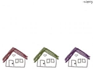フリー素材:640×480pix;クレヨン風のお家のイラスト素材