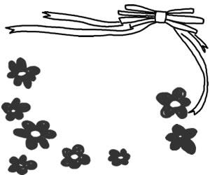 フリー素材:バナー広告:300×250pix;モノクロの花とリボンのイラストのwebデザイン素材