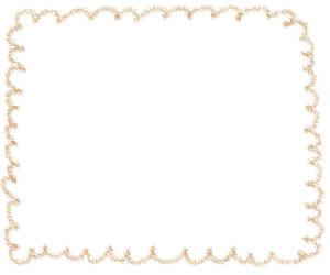 フリー素材:バナー広告:300×250pix;からし色(黄色)のもこもこの飾り枠のwebデザイン素材