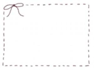 フリー素材:フレーム:640×480pix;紫のリボンとステッチのガーリーな飾り枠のwebデザイン素材
