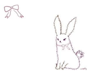 フリー素材:バナー広告:300×250pix;紫のリボンと大人かわいいうさぎのガーリーなイラストのwebデザイン素材