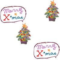 フリー素材:壁紙・背景;ポップでガーリーなクリスマスツリーと吹出しのイラスト