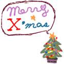 フリー素材:バナー:125pix,スクエアボタン;ポップでガーリーなクリスマスツリーとmeeryXmasの吹出しのwebデザイン素材