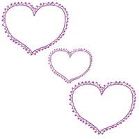 フリー素材:壁紙・背景;大人かわいい紫のハート(ポンポンレースつき)のイラスト