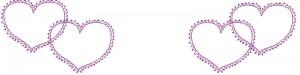 フリー素材:ヘッダー:800pixサイズ;大人かわいい紫のハート(ポンポンレースつき)のwebデザイン素材