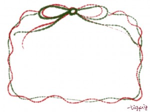 フリー素材:フレーム・飾り枠:640×480pix;クリスマスカラーのガーリーなリボンの飾り枠