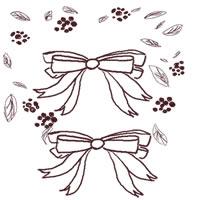 フリー素材:アイコン;大人かわいい茶色のリボンとナチュラルな葉っぱのwebデザイン素材