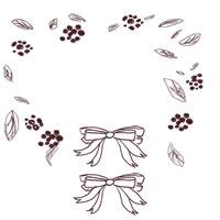 フリー素材:壁紙・背景・デクスチャ;大人かわいい茶色のリボンとナチュラルな葉っぱのwebデザイン素材