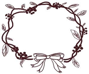 フリー素材:バナー広告:300×250pix;大人かわいい茶色のリボンと葉っぱのクリスマスリースの飾り枠のwebデザイン素材