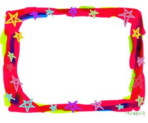 フリー素材:バナー広告:300×250pix;大人かわいい星いっぱいの飾り枠のwebデザイン素材