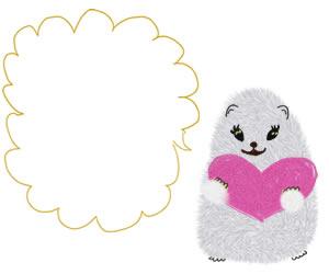 フリー素材:バナー広告:300×250pix;白いハムスターともこもこの吹出しとピンクのハートのラブリーなwebデザイン素材