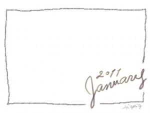 フリー素材:フレーム・飾り枠:640×480pix;大人かわいい手描き文字2011Januauyとクレヨン風のラインの飾り枠のwebデザイン素材